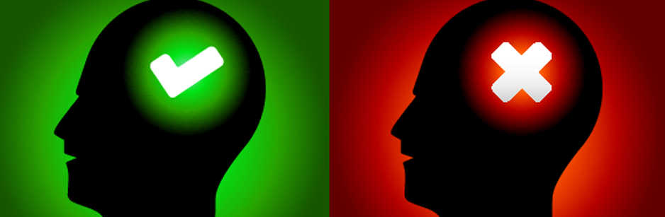 graphic heads depicting yes and no